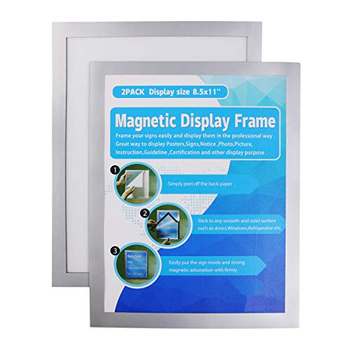 MFoffice Window Sign Holder 8.5x11'' - Plastic Picture Frames - Double Sided and Adhesive for Wall/Door/Refrigerator/Cupboard Display Frame,Silver,Pack of ()