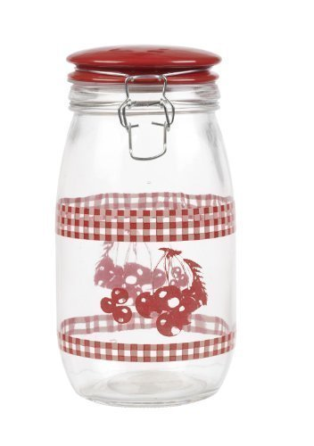 Panorama Storage Jar Glass With Ceramic Lid (Red)