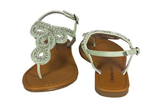 Stad Geclassificeerde Womens Jayna Multi Gerolde Ketting Slingback Platte String Sandaal In Mint Kunstleer