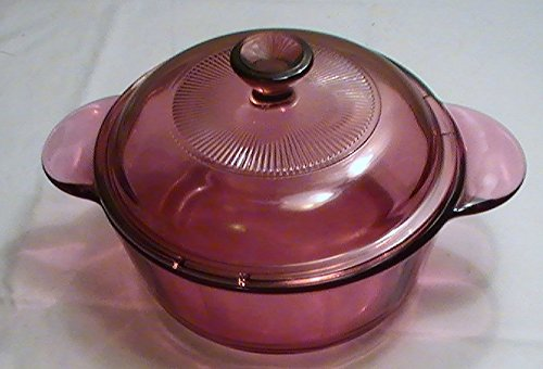 Corning Cranberry Visions 1 Quart Round Tab Handle Casserole with Glass Lid - Round Visions Casserole
