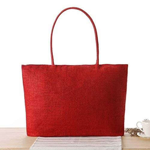 Handmade Women Shoulder Bag Summer Beach Bag Woven Rattan Knitted Straw Bag Big Totes Travel Women Handbag Shopping Casual Bohe - Red - A523