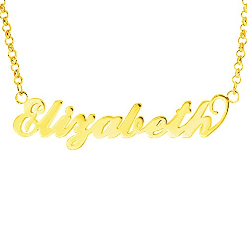 HACOOL Name Plate Necklace Custom Name Necklace Customized Necklace with Any Names in 14K Gold/Silve/Rose Gold Jewelry for Women Elizabeth in Gold