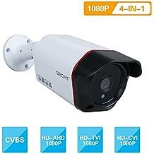 SECRT Full HD 1080P Bullet Security Camera, 2.0 Megapixel Hybrid 4-in-1 TVI/CVI/AHD/CVBS Waterproof Indoor/Outdoor Surveillance Camera, 36 LED 100ft IR Distance 85° Viewing Angle Metal Housing
