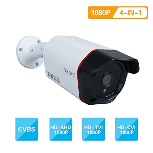 SECRT Full HD 1080P Bullet Security Camera, 2.0 Megapixel Hybrid 4-in-1 TVI/CVI/AHD/CVBS Waterproof Indoor/Outdoor Surveillance Camera, 36 LED 100ft IR Distance 85° Viewing Angle Metal Housing