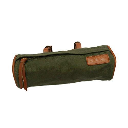 Hochwertige Rad-Tasche zur Befestigung am Lenker, Gepäckträger oder Sattel - OB8® Lenker-Tasche aus Leder und Leinen für Smartphone, Schlüssel, Geldbörse, Kosmetik, Werkzeug etc.