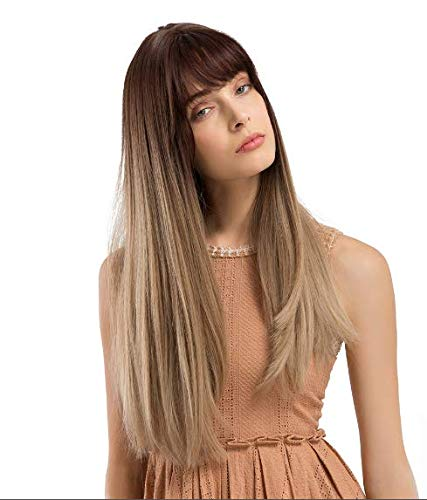 Long Brown Wigs with Bangs Luckyfine Long Straight Synthetic Wig, Brown Tawny Ombre Natural Looking Wigs Cosplay Party Halloween Cosplay Costume Wig for Women Girls Dress Dating-22'']()