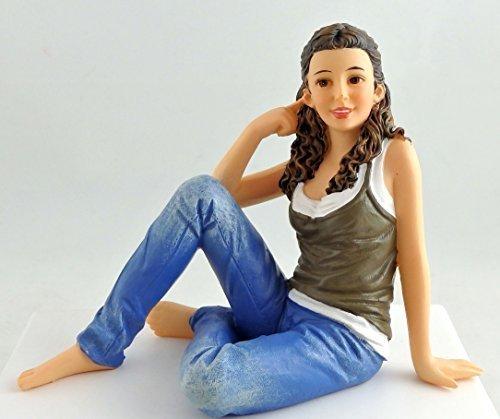 Dollhouse Miniature 1:12 Scale People Modern Resin Figure Lady Woman Sitting