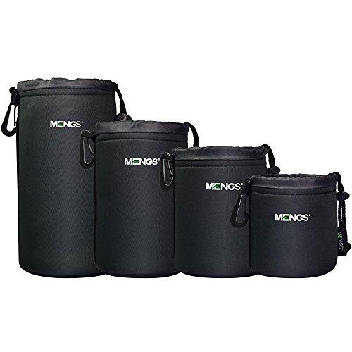 MENGS® High Grade schützenden Neopren Objektivtasche for - 4 Größe Multi Pack (S, M, L & XL) - Haken und Gürtelschlaufe