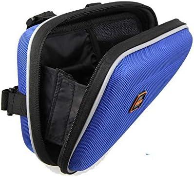 自転車フレームバッグ自転車バッグ フロントバッグ 多機能 防水 防圧 軽便 取り付け簡単 防水自転車バッグフロントトップチューブサドルフレームポーチサイクリングトライアングルパック用キー財布携帯電話 (Color : Blue, Size : 15*19.5*22cm)
