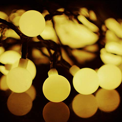 Hiistandd String Lights,22.3ft 50 LEDs Waterproof Ball Lights,8 Lighting Modes,Plug in Starry Fairy String Lights Bedroom,Garden,Christmas Tree,Wedding,Party(Warm White) (Circle String)