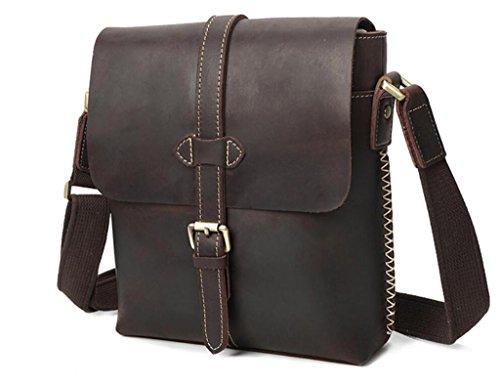 Handbag Messenger Retro scuro durevole Shopping Men's Casual Hand all'usura Resistente Leather Viaggio Shoutibao Marrone qBER1