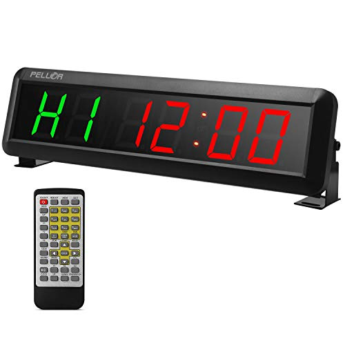 Pellor High Fitness Training Timer Remote Control Gym Indoor Interval Timer Clock for Crossfit, Tabata, EMOM, MMA (2.3