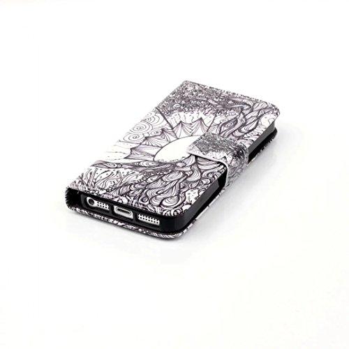Vandot iPhone 5 5S SE PU Leather Cuero de Camuflaje con Tarjeta de Crédito Slots Funda Wallet Carcasa Cover Con Flip Case Cover, Cierre Magnético, Función de Soporte + Correa de mano - Verde Pattern 10
