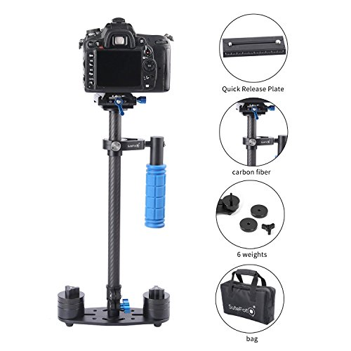SUTEFOTO Carbon Fiber Portable S-60 Max Hight 0.6 Meter Handheld Stabilizer Pro Version for Camera Video DV DSLR - Weight Bearing Capability 0.2-3.5 Kilogram (7 Pound) by Sutefoto