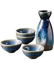 YUELU Retro Japanese Sake Set Ceramic Flagon Liquor Cup Home Bar White Red Wine Pot Drinkware Gifts Party Outdoor Indoor Tableware