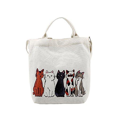 Majome Bolso de hombro del gato de la historieta de las mujeres bolso grande del recorrido de las compras bolso de la playa del verano de la lona C