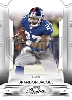 Brandon Jacobs - New York Giants - 2009 Playoff Prestige NFL Football Card In Protective Screwdown Case (2009 Nfl Trading Cards)