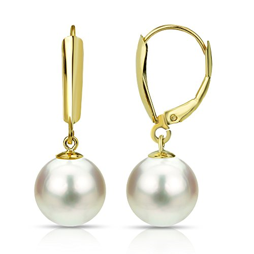 Pearl White 10.5 Mm - Freshwater Cultured White Pearl Dangle Earrings 14K Yellow Gold Hypoallergenic 10-10.5mm