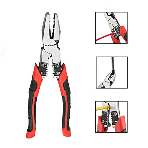 Lineman S Pliers Combination Pliers With Wire Stripper Crimper Cutter Function Heavy Duty Side Cutting Professional High Leverage Plier 8 1 2 Inch Newacalox