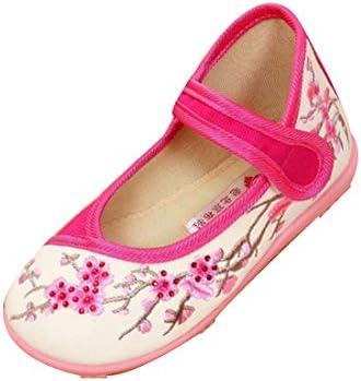 女の子の刺繍の靴中国風の靴梅柄フラットボトムシューズ