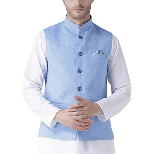 414Xxl64tNL. SS500  - hangup Men's Blended Bandhgala Festive Nehru Jacket/Waistcoat and Size Options (Up to2XL)