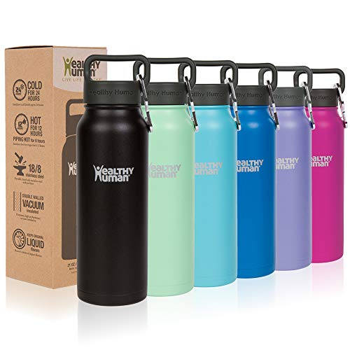 Healthy Human Classic Collection Stainless Steel Vacuum Insulated Water Bottle | Keeps Cold 12 Hours, Hot 6 Hours | Double Walled Water Bottle | 16 oz Pure Black