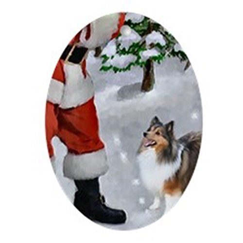 CafePress Shetland Sheepdog Christmas Ornament (Oval) Oval Holiday Christmas Ornament