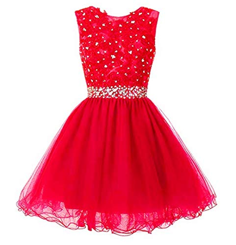 - Mamilove Women's Tulle Short Applique Beading Formal Homecoming Cocktail Party Dress 14 Red