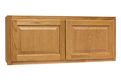 CONTINENTAL CABINETS KITCHEN CABINETS 2478238 Rsi Home Products Hamilton  Kitchen Wall Bridge Cabinet, Fully Assembled, Raised Panel, Oak, 36X15X12\
