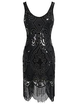 Emust Women's Straps 1920s Gatsby Sequin Art Deco Fringed Flapper Dress