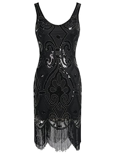 [Emust Women's Straps 1920s Gatsby Sequin Art Deco Fringed Flapper Dress Black Size Large] (Womens Black Sequin Short Dress)