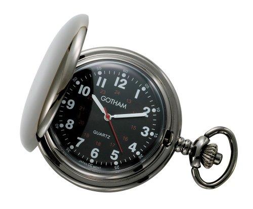 Gotham Men's Gun Metal Black Dial Covered Quartz Pocket Watch # GWC15042BBK