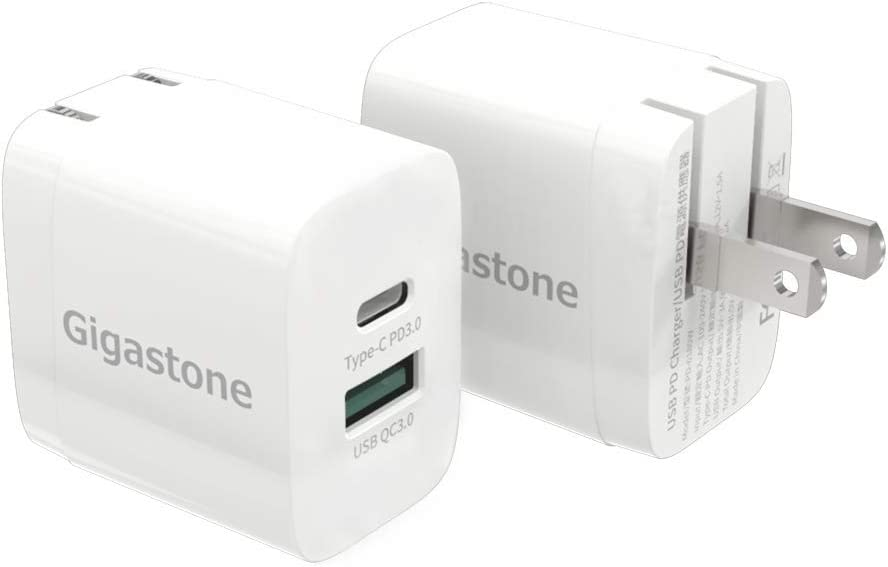 [Gigastone] 2-Pack Power Delivery 3.0, Quick Charge 3.0 Dual Ports USB-C + USB 18W Wall Charger, Compatible w/iPhone iPad, Galaxy S10/S9 Note8, P10/mate10/P9/Nova2, Qi Wireless Pad
