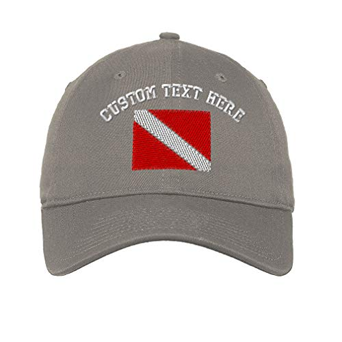 Panel Buckle (Custom Sport Scuba Diving Flag Embroidery Unisex Adult Flat Solid Buckle Cotton 6 Panel Unstructured Baseball Hat Adjustable Cap - Light Grey)