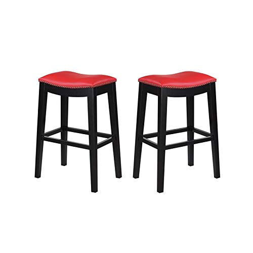 (Pemberly Row Norwood Red 30'' Faux Leather Bar Stool (Set of 2))