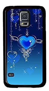 Abstract Blue Heart Fly DIY Hard Shell Black Designed For Samsung Galaxy S5 I9600 Case