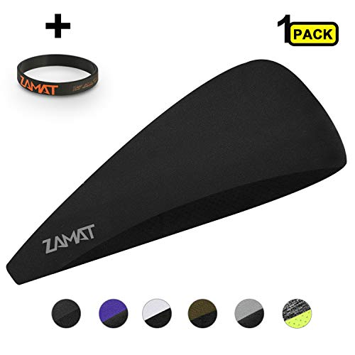 ZAMAT Mens Headband, Sweatband for Men & Women Multiple Colors (with Black Wrist Bands) Stretchy and Moisture Wicking Perfect for Working Out, Outdoor, Athletic, Easy to Carry (Black)