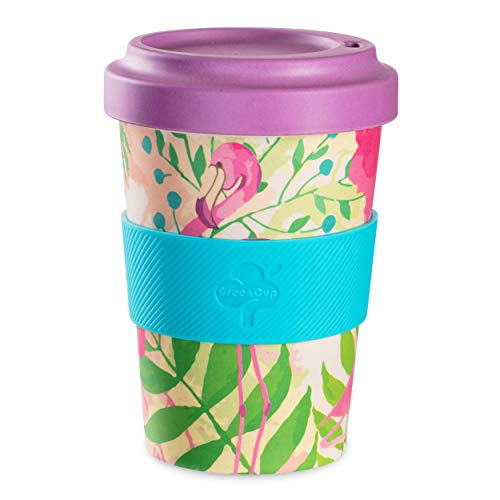 Corn Plastic Mugs - Be-Puro Bamboo Fibre Travelling Coffee Cup Eco Friendly Reusable long lasting Dishwasher safe Screw on lid Silicone Grip Travel Coffee Mug for Tea Coffee Hot beverages 18oz 550ml Tropical Flamingo