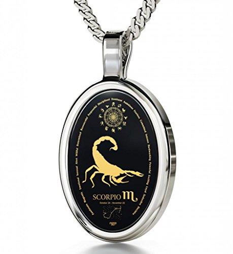 925 Silver Zodiac Pendant Scorpio Necklace Inscribed in 24k Gold on Onyx Stone, 18'' by Nano Jewelry