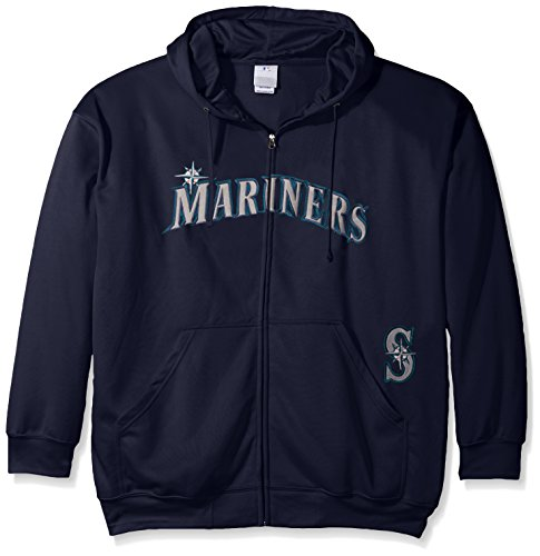 MLB Seattle Mariners Men's Full Zip Poly Fleece with Wordmark Chest with Logo near Pocket, 2X/Tall, Navy