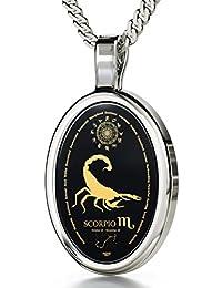 "Zodiac Pendant Scorpio Necklace Inscribed in 24k Gold on Onyx Stone, 18"" - NanoStyle Jewelry"