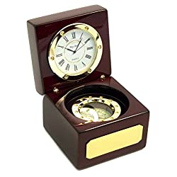 International Rosewood Desktop Clock & Compass w/ Gold Accents