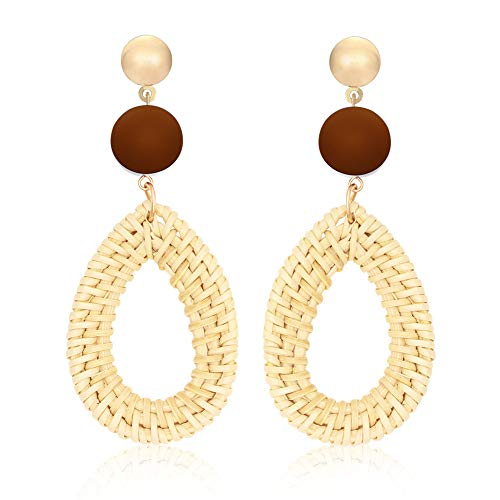 Teardrop Rattan Earrings for Women Handmade Woven Straw Wicker Circle Drop Dangle Earrings Bohemian Boho Lightweight Earrings Statement Fashion Jewelry (OVAL-COFFEE)