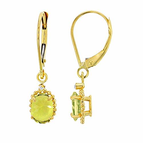- 14K Yellow Gold 1.25mm Round White Topaz & 6x4mm Oval Lemon Quartz Bead Frame Drop Leverback Earring