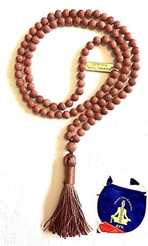 Bracelets Genuine Goldstone - Goldstone Gold stone Sandstone 6mm 108+1 beads prayer japa mala necklace - Blessed energized meditation beads - w/Free velvet mala rosary pouch - US Seller