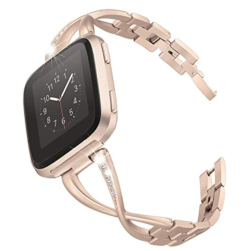 Reatch Stainless Steel Bands Compatible with Fitbit Versa for Women, Metal Replacement Band with Rhinestones Diamond, X-Link Designed for Versa Watch (Champagne)