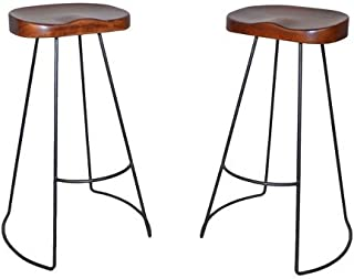 product image for Carolina Chair & Table Brera 31-Inch Wood Seat Tractor Stool, Chestnut/Black