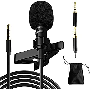 Professional Lavalier Microphone,Phone Microphone,Noise Reduction Mic, Suitable for Interview,Video,Recording,Black.59' Wireless Lavalier Microphones