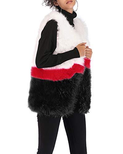 Pour En Imitation Color Fourrure Sans Manches Femmes Block Black Gilet Lishihuan qW4YT6q