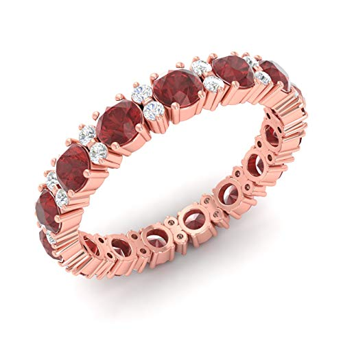 - Diamondere Natural and Certified Garnet and Diamond Wedding Ring in 14K Rose Gold | 2.45 Carat Full Eternity Band for Women, US Size 6.5